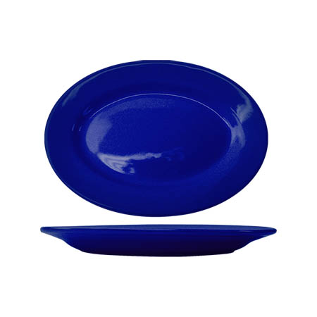 "ITI Cancun 11-1/2"" x 8-1/4"" Cobalt Blue Rolled Edge Platter"