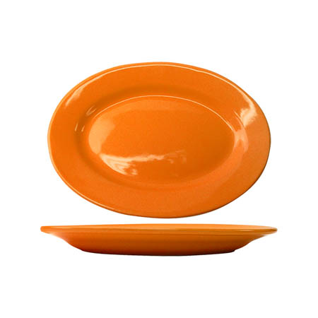 "ITI Cancun 11-1/2"" Orange Rolled Edge Platter"