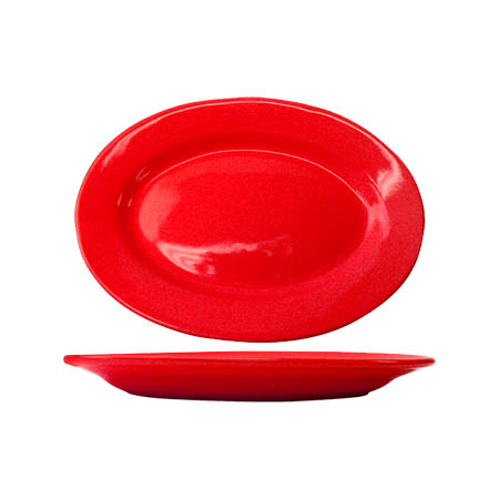 "ITI Cancun 12-1/2"" Red Rolled Edge Platter"