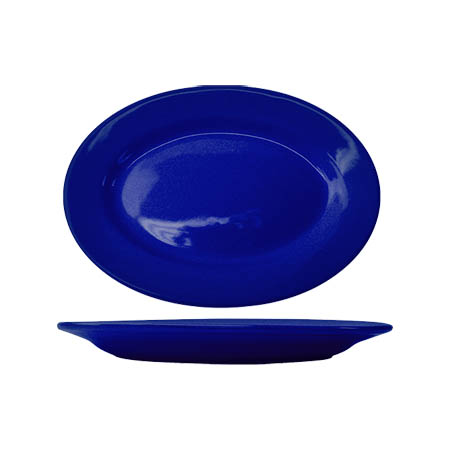 "ITI Cancun 12-1/2"" Cobalt Blue Rolled Edge Platter"