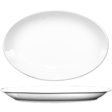 "ITI Dover 9-5/8"" European White Rolled Edge Platter"