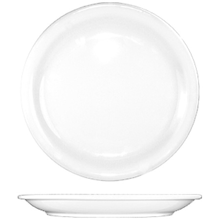 "ITI Brighton 9-1/2"" European White Narrow Rim Plate"