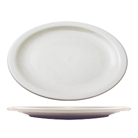 "ITI Brighton 13-1/8"" European White Narrow Rim Platter"