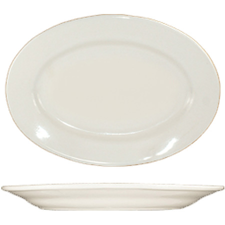 "ITI Roma 9-3/8"" American White Rolled Edge Platter"