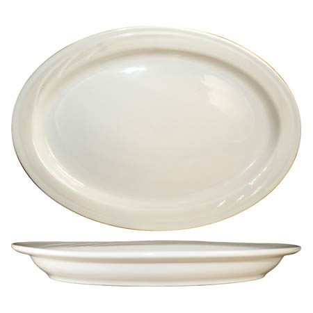 "ITI York 13"" x 9-3/8"" American White Rolled Edge Platter"