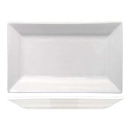 "ITI Elite 11"" x 5-1/8"" Bright White Rectangle Platter"