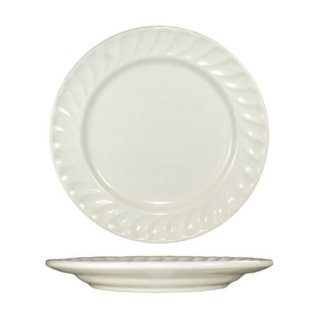 "ITI Hampton 11-3/8"" American White Fluted Edge Plate"