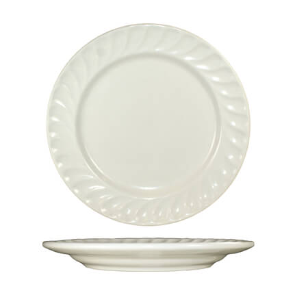 "ITI Hampton 12-1/8"" American White Fluted Edge Plate"
