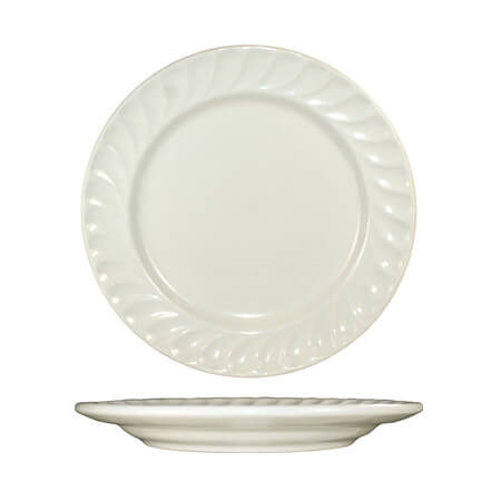 "ITI Hampton 7-7/8"" American White Fluted Edge Plate"