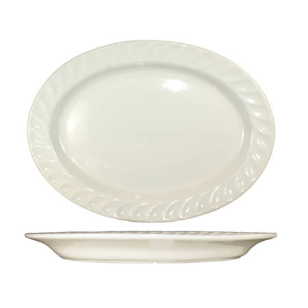 "ITI Hampton 11"" x 8-1/8"" American White Fluted Edge Platter"