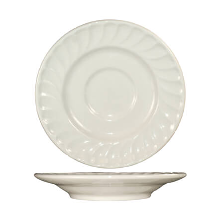 "ITI Hampton 6"" American White Fluted Edge Saucer"