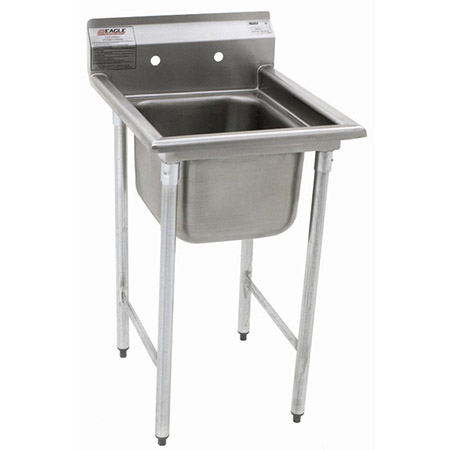 "Eagle 1-Compartment Stainless Steel Sink without Drainboards 23-1/4""L"