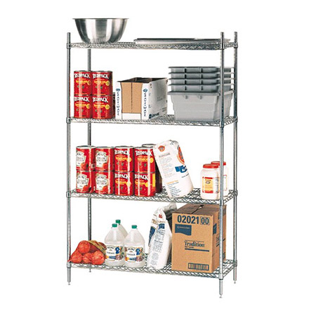"Eagle Heavy Duty Gray Epoxy-Coated Wire Shelving Kit 14"" x 30"""
