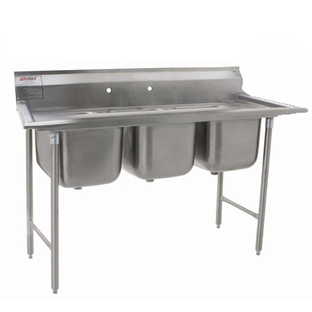 "Eagle 3-Compartment Stainless Steel Sink without Drainboards 58-3/4""L"