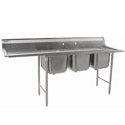"Eagle 3-Compartment Stainless Steel Sink with 18"" Drainboard on Left 74-5/8""L"