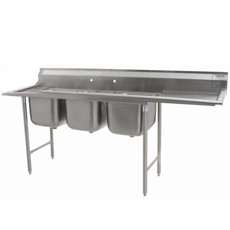 "Eagle 3-Compartment Stainless Steel Sink with 18"" Drainboard on Right 74-5/8""L"