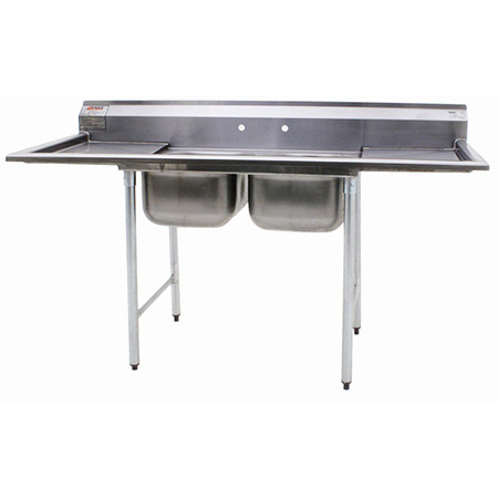 "Eagle 2-Compartment Stainless Steel Sink with Two 18"" Drainboards 72-1/4""L"