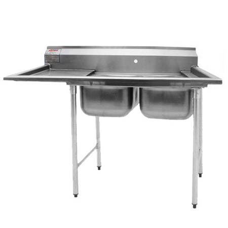 "Eagle 2-Compartment Stainless Steel Sink with 18"" Drainboard on Left 56-5/8""L"