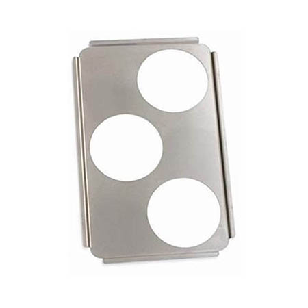 "Stainless Steel Adapter Plate with Three 6-1/2"" Cut-Outs"