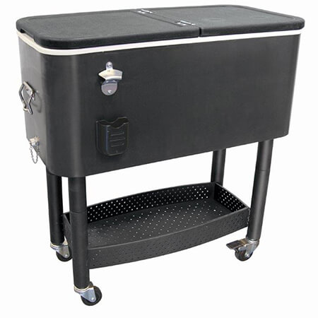 Update 65 Quart Mobile Cooler Cart with Bottle Opener and Cap Catcher