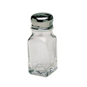 Winco 2 oz. Square Glass Salt and Pepper Shaker With Chrome-Plated Cap | Case of 12