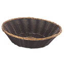 "Woven Black Vinyl with Gold Trim Round Basket  8"" x 2-1/2"""