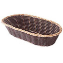 "Woven Black Vinyl with Gold Trim Oblong Basket 9"" x 4-1/4"" x 2"""