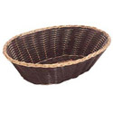 Woven Black Vinyl with Gold Trim Oval Basket  9\x22 x 6-1/2\x22 x 2-1/4\x22