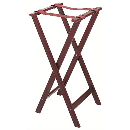 "Wood Folding Tray Stand with Mahogany Finish 32""H"