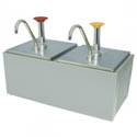 Dual Stainless Steel Condiment Dispenser with Pumps
