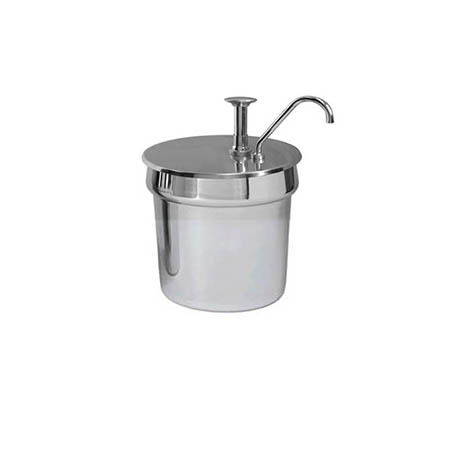 Stainless Steel 7-Quart Condiment Dispenser with Pump Lid
