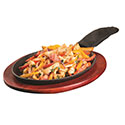 "Cast Iron Oval Fajita Platter Set with Handle 15"" x 7-1/4"""