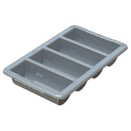 4-Compartment Gray Cutlery Box