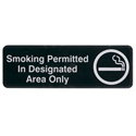 "Smoking Permitted in Designated Areas Only Wall Sign 3"" x 9"""