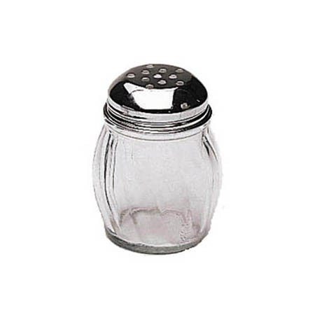 Update 6 oz. Glass Cheese Shaker with Perforated Chrome Top