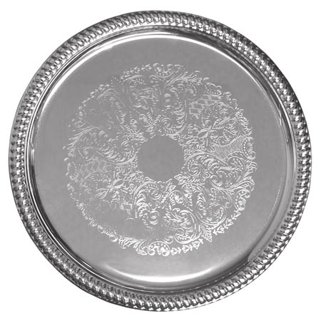"Embossed Round Chrome Plated Serving Tray 14"" Diameter"