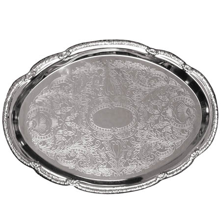 "Embossed Oval Chrome Plated Serving Tray 15"" x 10"""