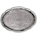 Embossed Oval Chrome Plated Serving Tray 15\x22 x 10\x22