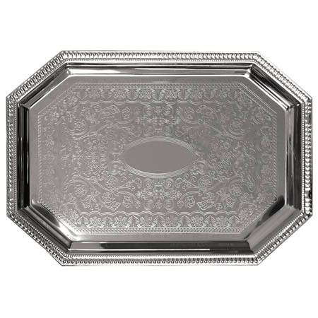 "Embossed Octagon Chrome Plated Serving Tray 17"" x 12"""