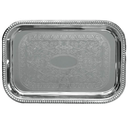 "Embossed Rectangular Chrome Plated Serving Tray 18"" x 12"""