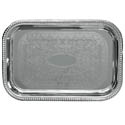 Embossed Rectangular Chrome Plated Serving Tray 18\x22 x 12\x22