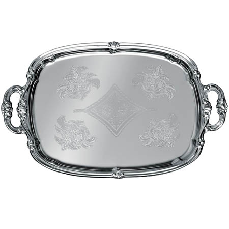 "Embossed Rectangular Chrome Plated Serving Tray 18"" x 13"""