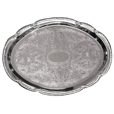 "Embossed Oval Chrome Plated Serving Tray 18"" x 13"""