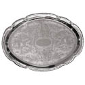Embossed Oval Chrome Plated Serving Tray 18\x22 x 13\x22