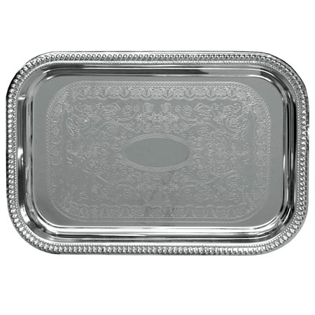 "Embossed Rectangular Chrome Plated Serving Tray 20"" x 14"""
