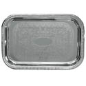 Embossed Rectangular Chrome Plated Serving Tray 20\x22 x 14\x22