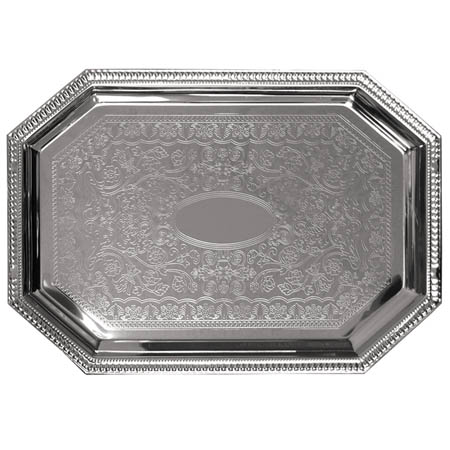 "Embossed Octagon Chrome Plated Serving Tray 20"" x 14"""