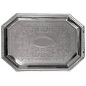 Embossed Octagon Chrome Plated Serving Tray 20\x22 x 14\x22