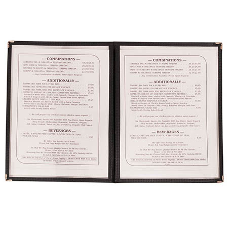 "4-Panel Clear Plastic Menu Cover with Black Binding 9-1/4"" x 14-5/8"""