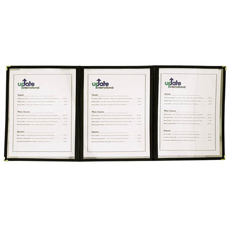 "6-Panel Clear Plastic Menu Cover with Black Binding 9-1/4"" x 12"""